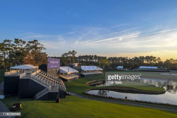 An early morning scenic photo of the 17th green prior to THE PLAYERS Championship on THE PLAYERS Stadium Course at TPC Sawgrass on March 13 in Ponte...