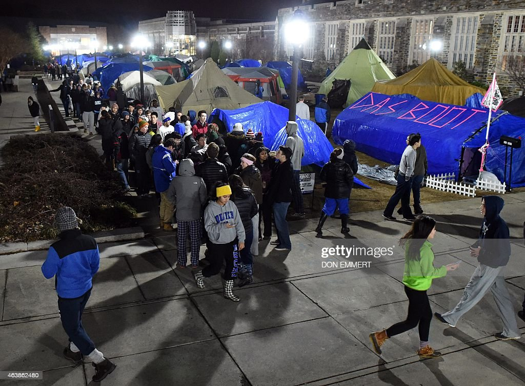 An early morning tent check in K-Ville, named after Duke head coach