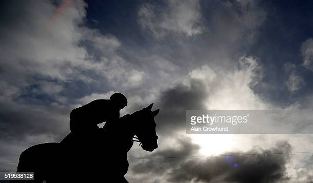 An early morning trot before racing at Aintree Racecourse on April 7 2016 in Liverpool England