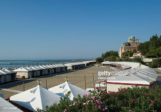 An early morning view of the private beach of the Excelsior Hotel at Lido on August 26 2011 in Venice Italy Most luxury hotels will be fully booked...