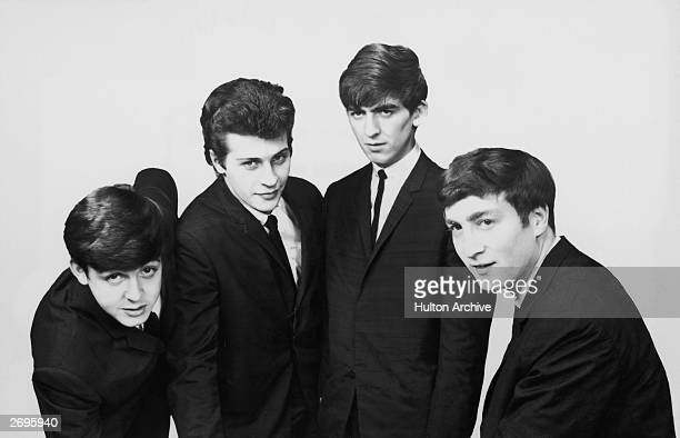 An early portrait of the British rock group The Beatles Left to right Paul McCartney Pete Best George Harrison and John Lennon