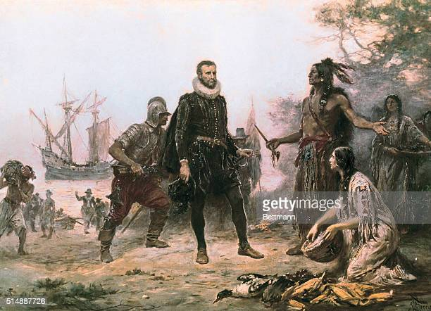 An early twentiethcentury painting by Jean Leon Gerome Ferris depicting Henry Hudson in 1609