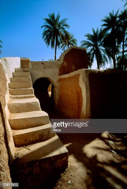 An earth staircase leads to a public terrace April 2000 in Ghadames Libya