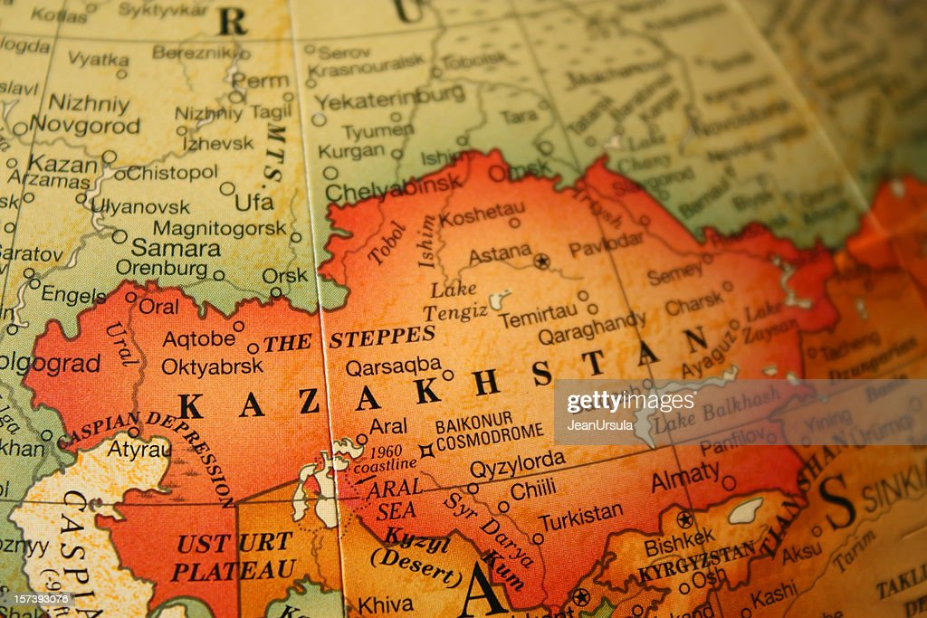 Kazakhstan Political Map.An Earth Tone Political Map Focused On Kazakhstan Stock Photo