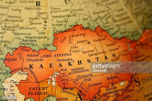 An earth tone political map focused on Kazakhstan