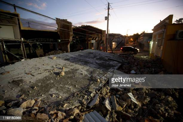 An earthquake destroyed building on January 11 2020 in Guayanilla Puerto Rico Saturday morning's quake was the most powerful aftershock following...