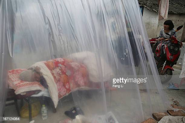 An earthquake old survivor sleeps in a tent on April 21 2013 in Lushan of Ya An China A magnitude 7 earthquake hit China's Sichuan province on April...