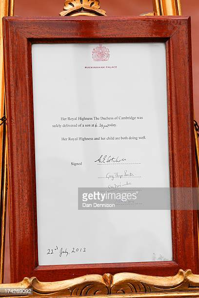 An easel displays the announcement of the birth of a son to The Duke and Duchess of Cambridge at Buckingham Palace on July 23 2013 in London England...