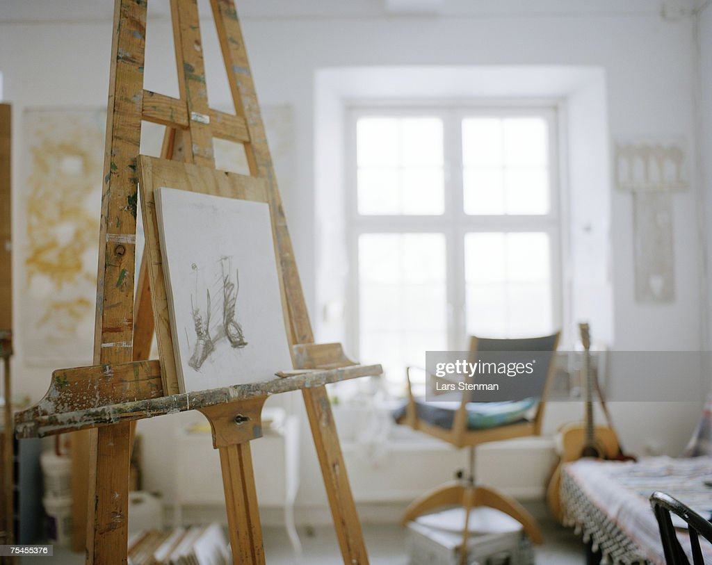 An easel in a studio. : Stock Photo