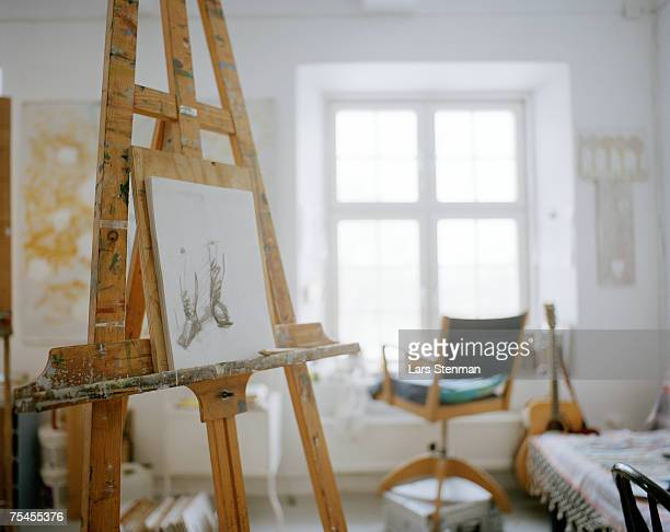 An easel in a studio.