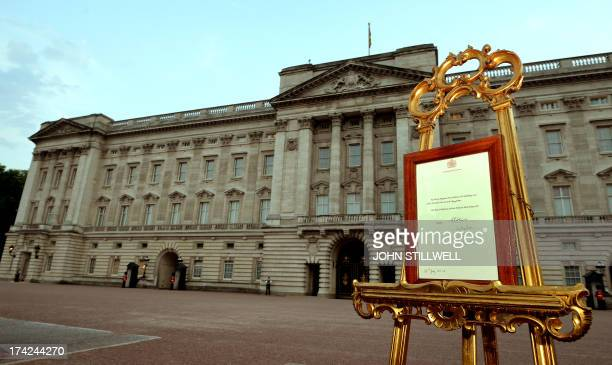 An easel stands in the forecourt of Buckingham Palace in London on July 22 to announce the birth of a baby boy, at 4.24pm to Prince William and...