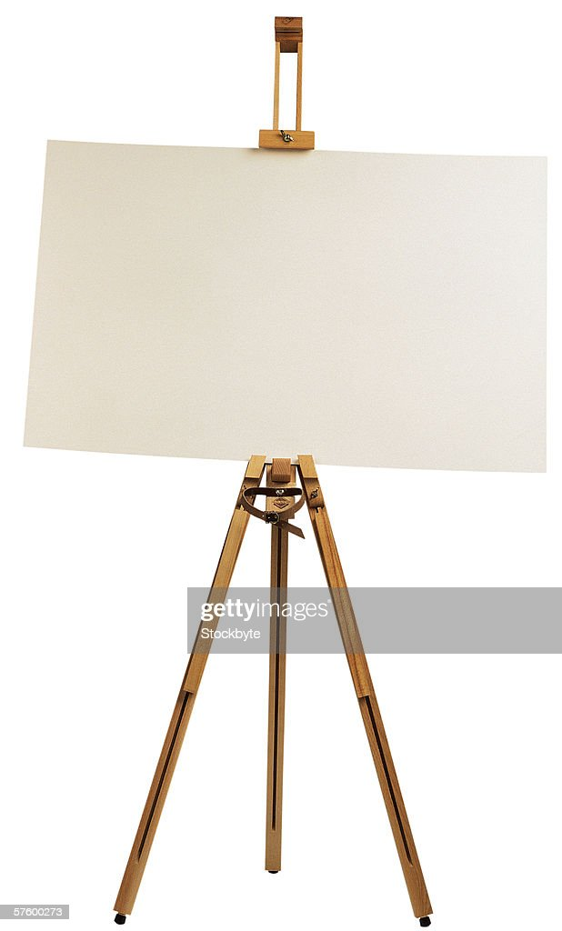 an easel with a white sheet stock photo getty images