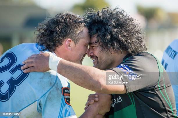An East Coast player receives a hongi frim Matt Fetu of South Canterbury after the round four Heartland Championship match between South Canterbury...