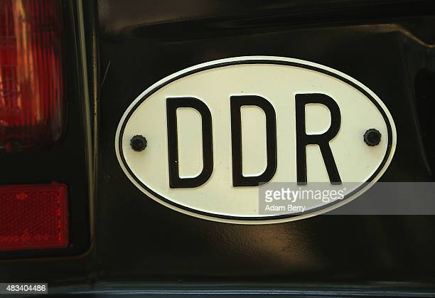 An East German country plate is seen on a Trabant automobile at a Trabant enthusiasts' weekend on August 8 2015 near Nossen Germany The Trabant also...
