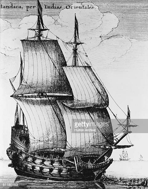 An East Indiaman or large sailing ship built for trade between Europe and the East Indies circa 1650 Engraving by Wenceslaus Hollar