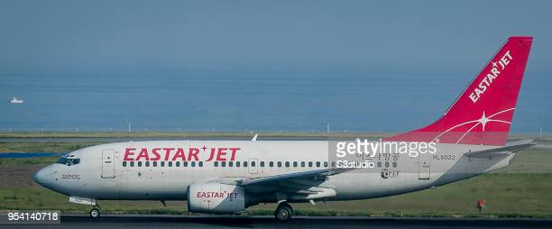 An Eastar Jet Airbus Boeing 73773V in runway at Jeju International Airport on 18 April 2018 in Jeju South Korea Korea's budget carriers are now...