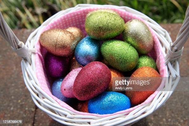 An Easter basket filled with eggs is seen on April 10, 2020 in Louisville, Kentucky. Due to the COVID -19 outbreak, Kentucky state officials have...