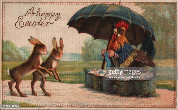 An easter bunny meets a hen with colored eggs in this fantasy postcard printed early 20th century in Germany