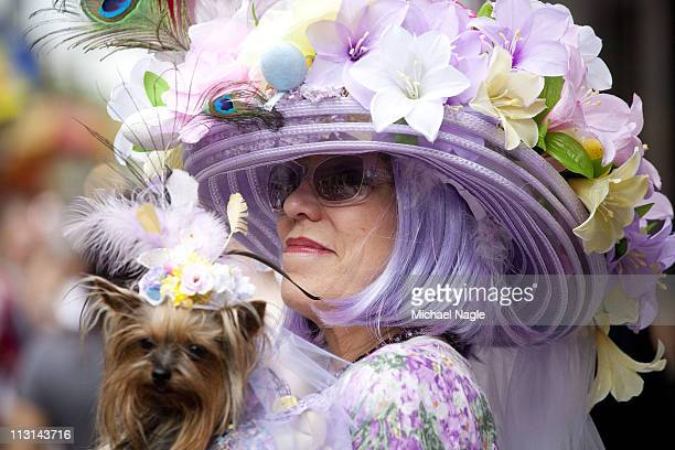 An Easter parade participant and her dog take part in the 2011 Easter Parade and Easter Bonnet Festival on April 24 2011 in New York City The parade...