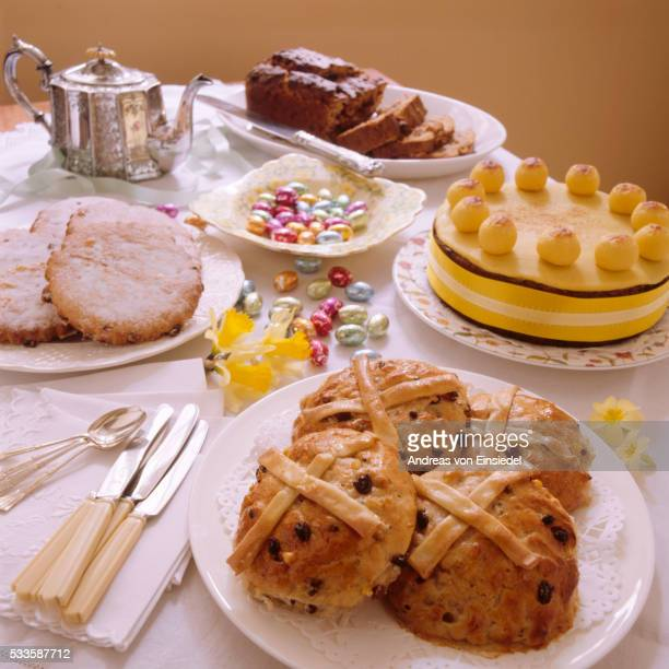 An Easter tea; Derbyshire spiced fruit bread, simnel cake, hot cross buns and Easter biscuits, arran