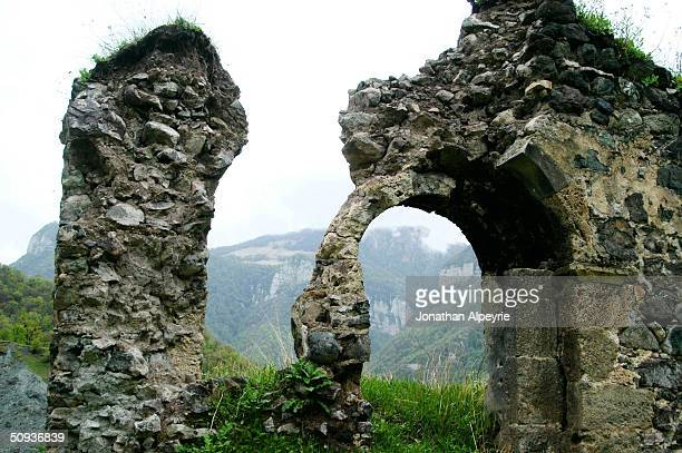 An Eastern view of the Dadivank monastery is seen May 6, 2004 in Nagorno-Karabakh, Azerbaijan. This 13th century religious site is now abandoned,...