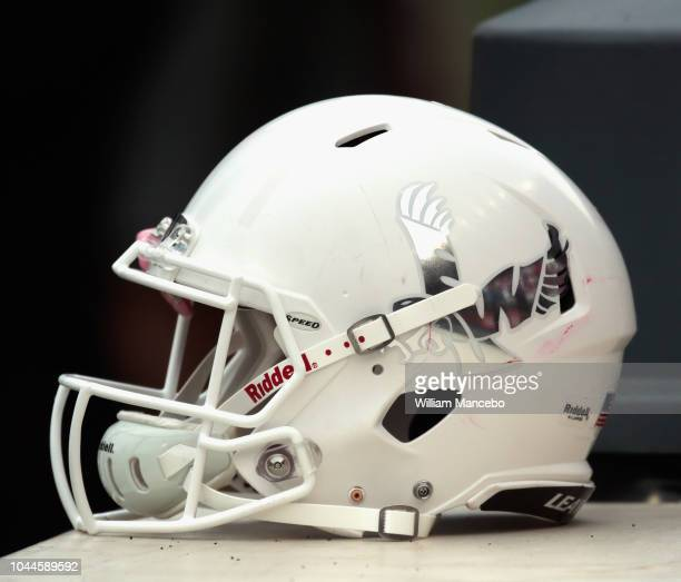 An Eastern Washington Eagles helmet is seen on the sidelines during the game against the Washington State Cougars at Martin Stadium on September 15...