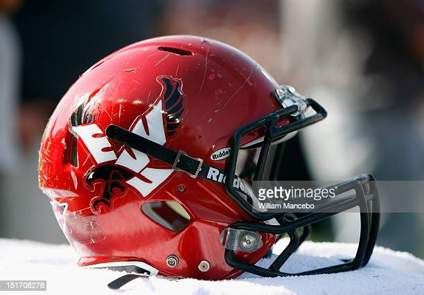 An Eastern Washington Eagles helmet on the sidelines during the game against the Washington State Cougars at Martin Stadium on September 8, 2012 in...
