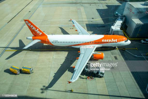 An EasyJet Airbus A320214 refuelling for the next flight at gate 101 on 16th October 2019 at Gatwick airport north terminal United Kingdom
