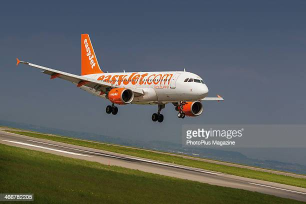 An EasyJet airliner landing at Bristol Airport in North Somerset taken on May 17 2013