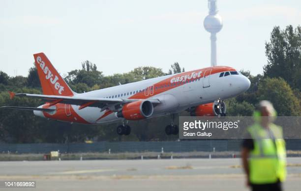 An easyJet passenger plane arrives at Tegel Airport on September 27 2018 in Berlin Germany Tegel has become a hub for easyJet since the airline took...