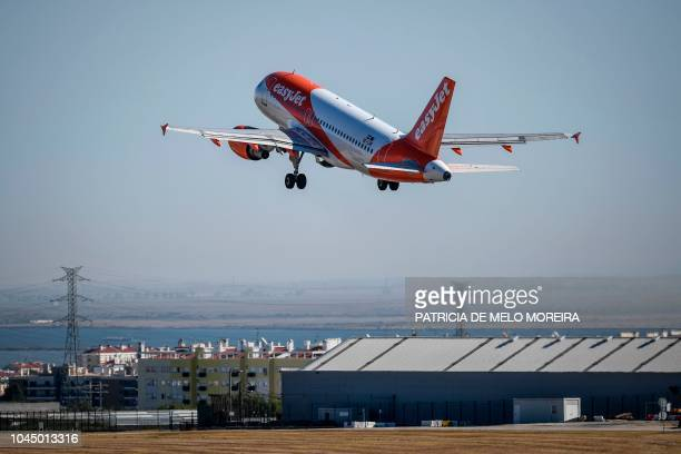 An EasyJet plane takes off from Humberto Delgado airport in Lisbon on October 3 2018