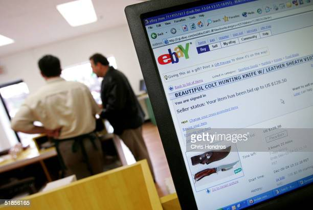 An eBay auction is seen on a computer in a branch of iSold It, an eBay drop off store December 13, 2004 in Huntington, New York. ISold It, a...