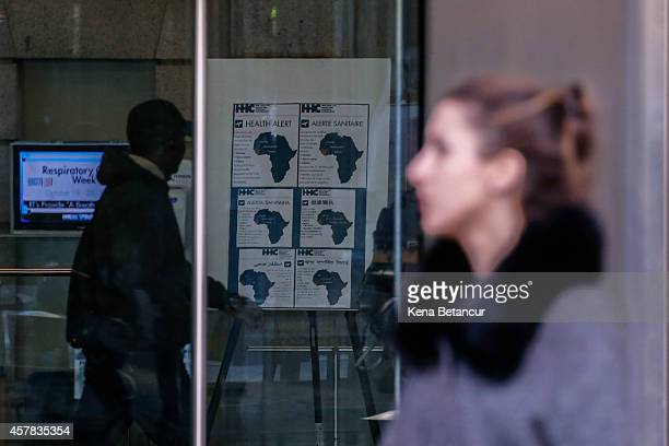 An Ebola warning poster is seen inside the Bellevue Hospital where Dr Craig Spencer who was diagnosed with the Ebola disease remains in quarantine on...