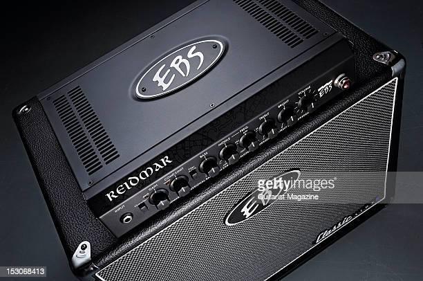 An EBS Reidmar bass guitar amplifier head unit and Classic Line 1x12 speaker cabinet during a studio shoot for Guitarist Magazine February 7 2012