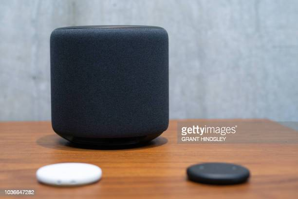 An Echo Sub and Echo Inputs part of Amazon's push towards giving audiophiles Alexa connectivityis on display in Amazon's Day 1 building in Seattle on...