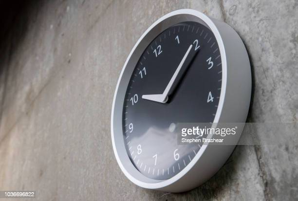 An Echo Wall Clock which can be controlled via Alexa is pictured at Amazon Headquarters following a launch event on September 20 2018 in Seattle...
