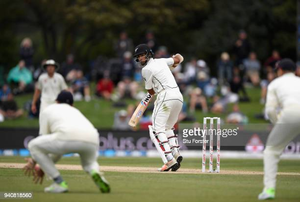 An edge from New Zealand batsman Jeet Raval falls just short of slip fielder James Vince during day four of the Second Test Match between the New...
