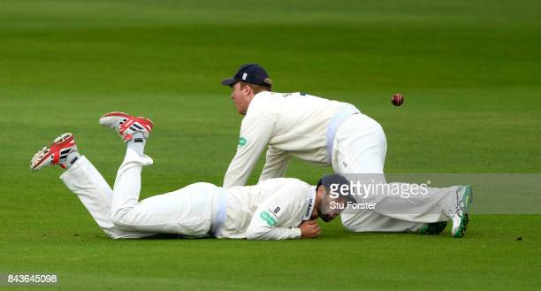 An edge from the bat of Lancashire batsman Tom Bailey evades Essex slip fielders Nick Browne and Simon Harmer during day three of the Specsavers...