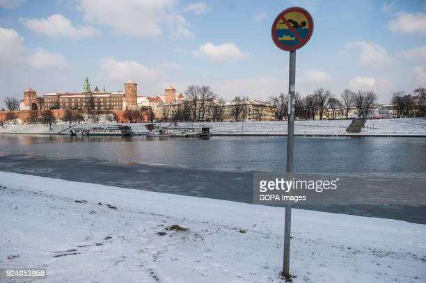 An edge of Vistula river seens frozen as a Siberian cold front arrives in Krakow