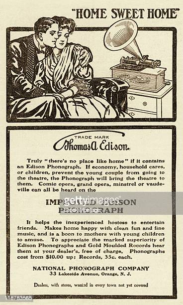 An Edison Home Phonograph and a romantic couple are shown in an advertisement dated 1906 The ad states 'Truly 'There's no place like home' if it...