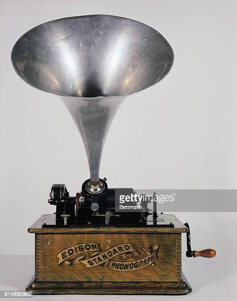 An Edison Standard Phonograph with the trademark cylindrical records