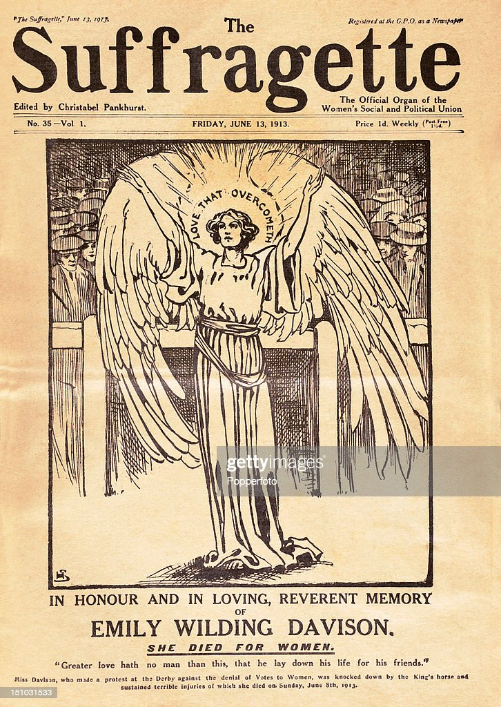 An edition of 'The Suffragette' commemorating the death of Emily Wilding Davison who died as a result of her injuries after being knocked down by the King's horse during a protest against the denial of votes to women at the Epsom Derby, published 13th June 1913.