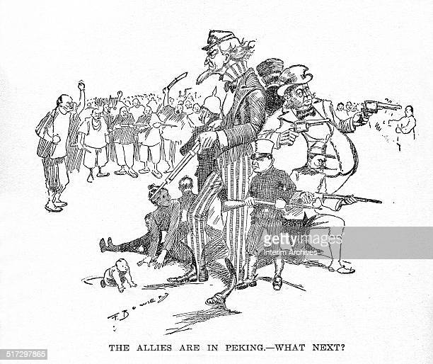 An editorial cartoon depicts an armed Uncle Sam the personification of the United States standing with other personifications of different European...