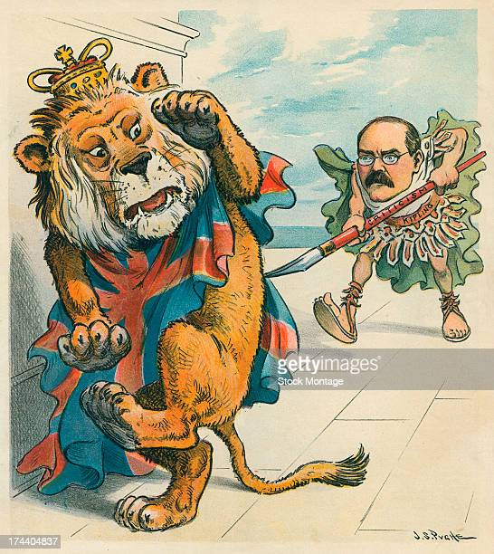 An editorial cartoon, 'Et Tu, Brute!,' depicts British writer Rudyard Kipling as he prods a cowering lion, symbolizing Great Britain, with an...