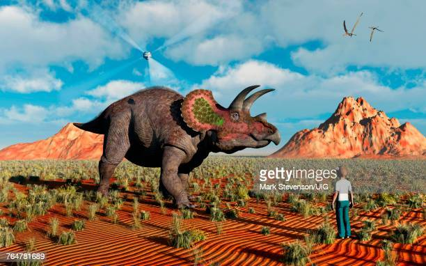 an educational prehistoric holographic program - herbivorous stock photos and pictures