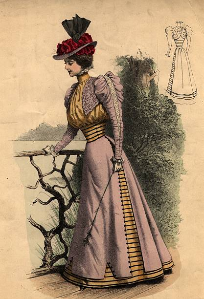An Edwardian walking outfit with leg-of-mutton sleeves....