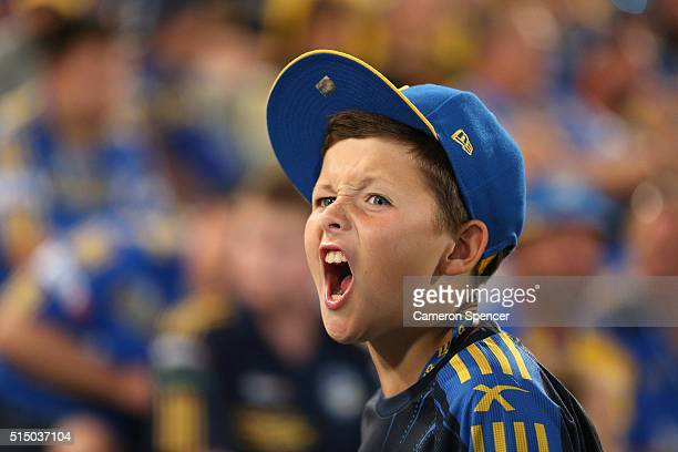 An Eels fan enjoys the atmosphere during the round two NRL match between the Parramatta Eels and the North Queensland Cowboys at Pirtek Stadium on...