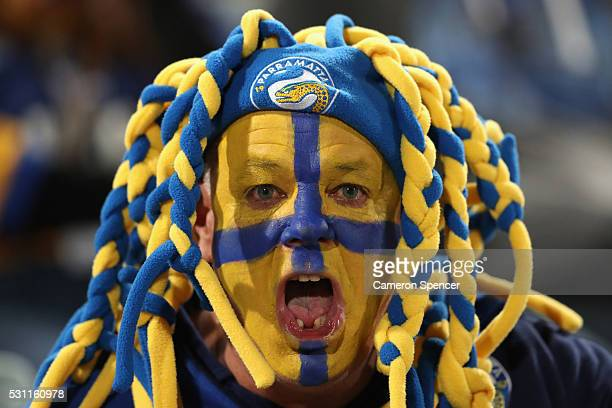 An Eels fan shows his colours during the round 10 NRL match between the Parramatta Eels and the South Sydney Rabbitohs at Pirtek Stadium on May 13...
