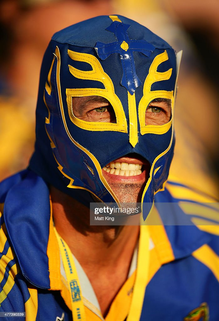 An Eels fan supports his team during the round one NRL match between the Parramatta Eels and the New Zealand Warriors at Pirtek Stadium on March 9, 2014 in Sydney, Australia.
