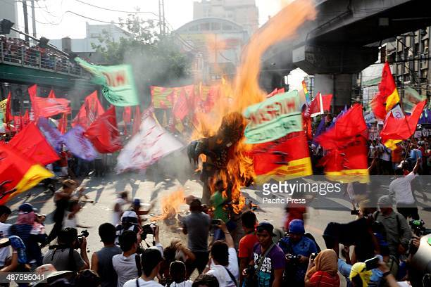 An effigy named Noynoy Puppetnoid was burned by variuos miltant group leaders in Mendiola Manila City in the celebration of 128th International Labor...